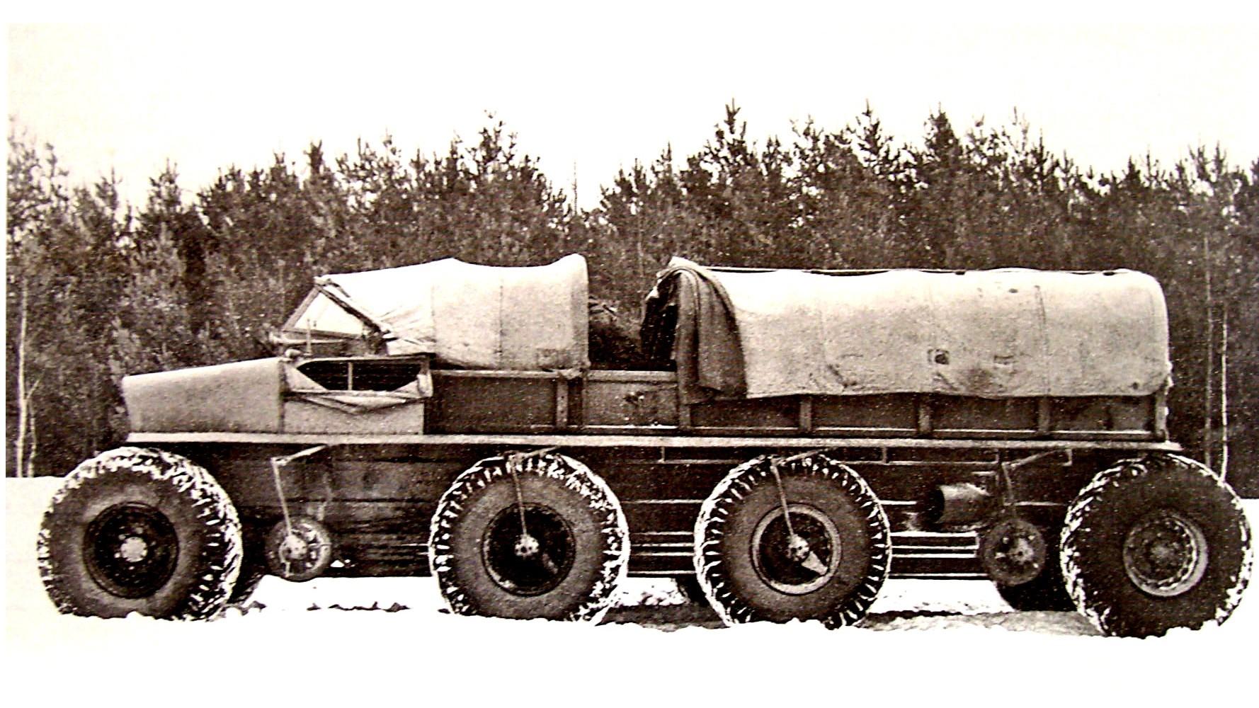 Длиннобазный макетный образец Э134 с разнесенными крайними колесами