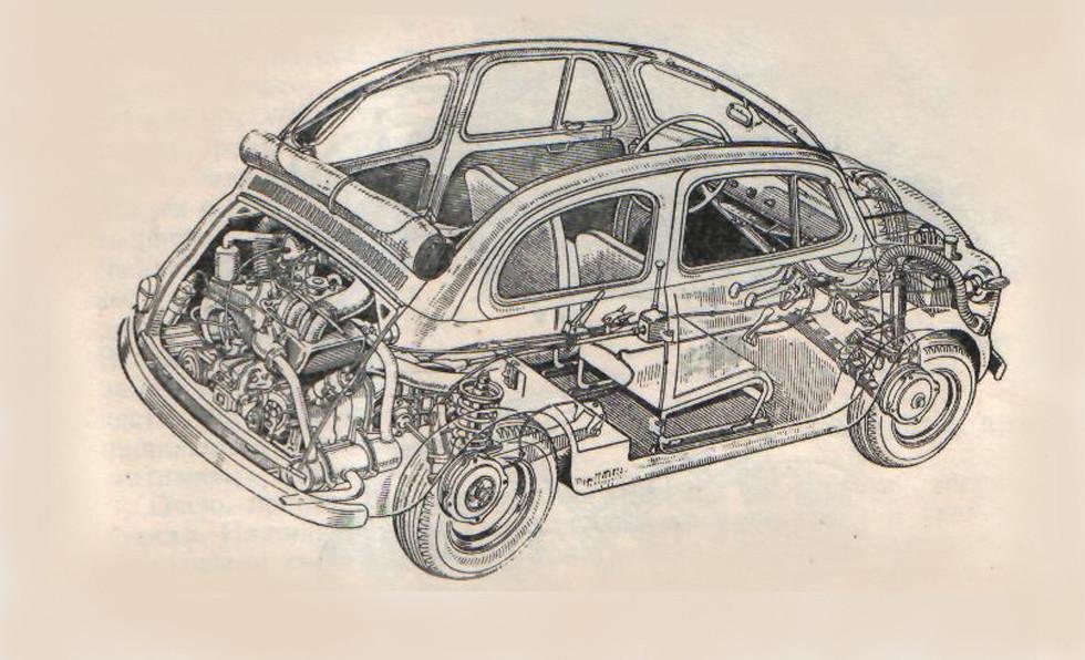 Fiat 500 - практически уменьшенный двойник шестисотки