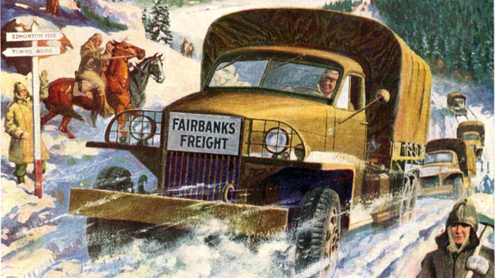 Живописная сценка, посвященная работе автомобилей Studebaker на Аляске