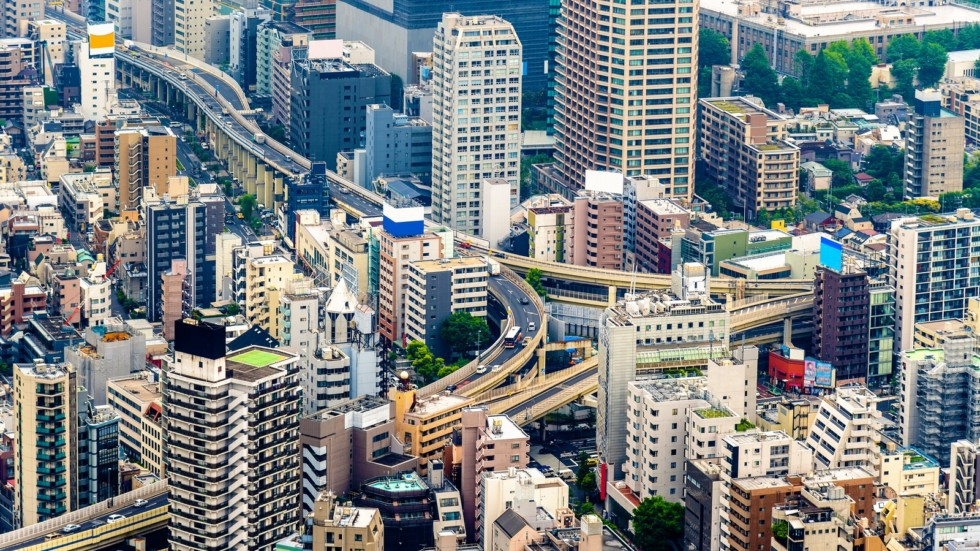 Elevated road interchange in Tokyo city centre