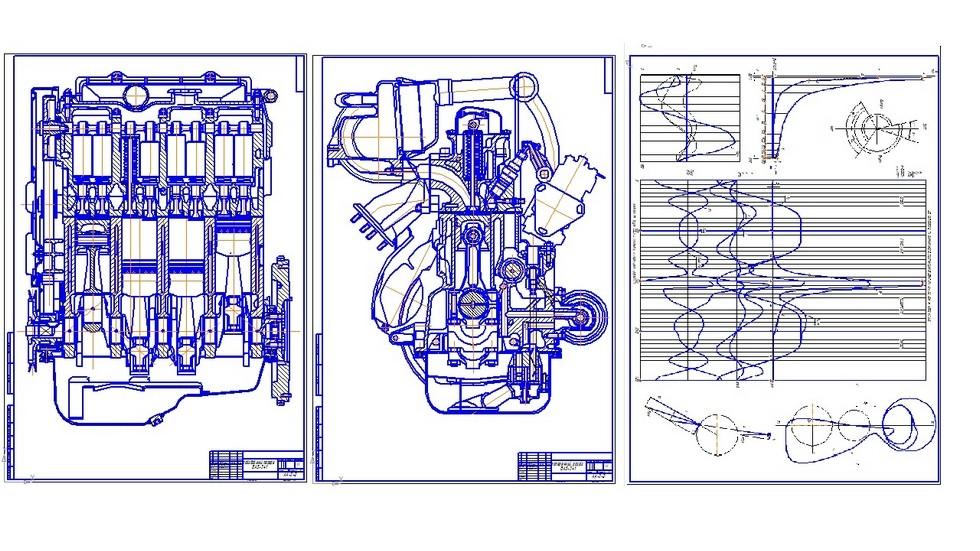 На фото: Чертежи двигателя ВАЗ-341