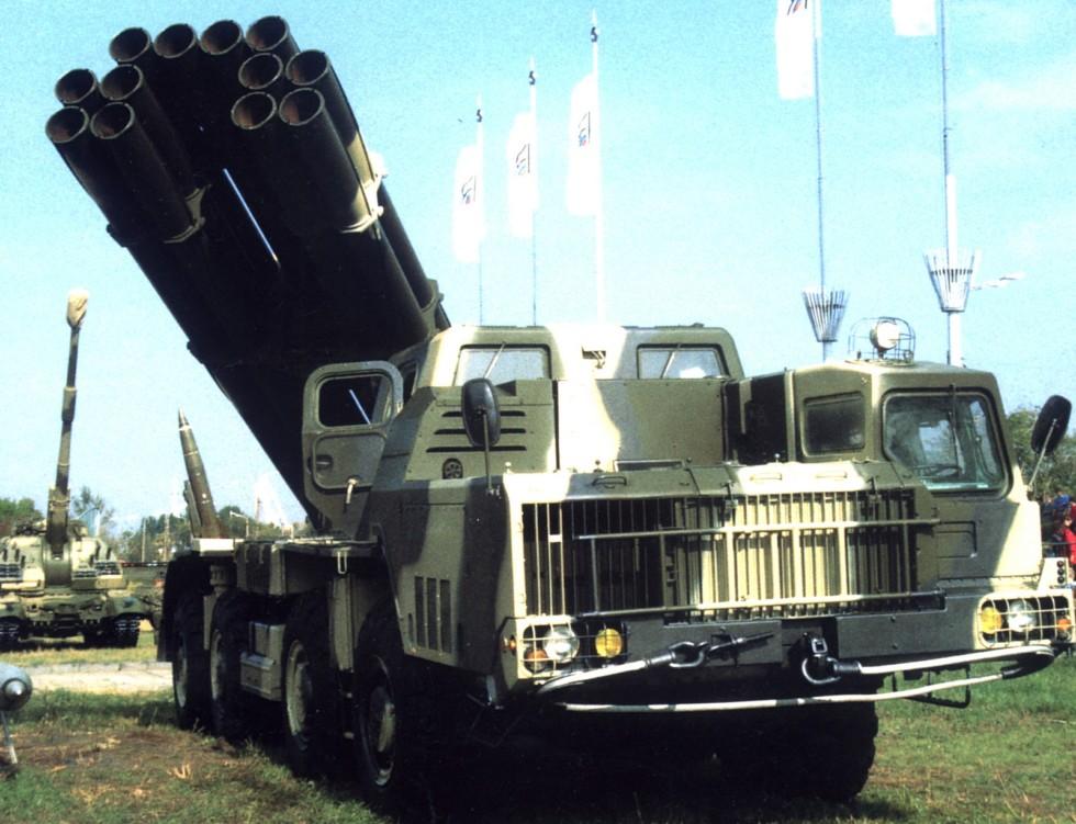 Пусковая установка 9А52 комплекса «Смерч» на шасси МАЗ-543М (из проспекта «Росвооружение»)
