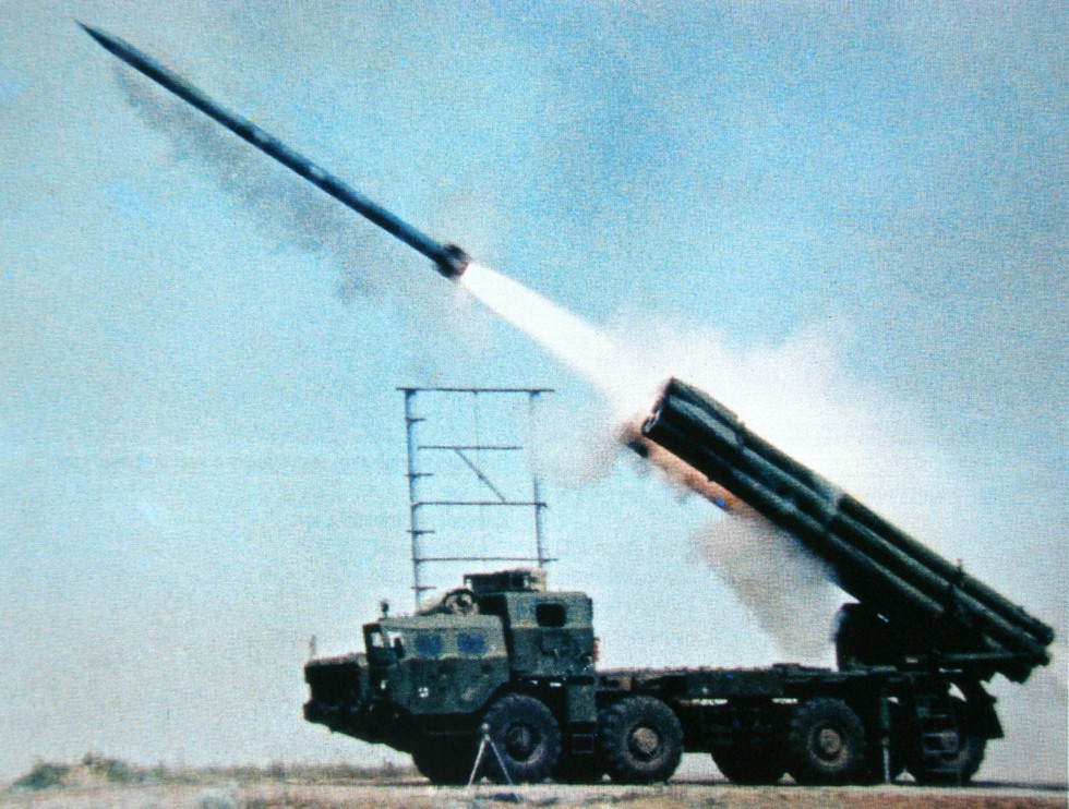 Запуск реактивного снаряда из установки «Смерч» (из архива НИИЦ АТ)