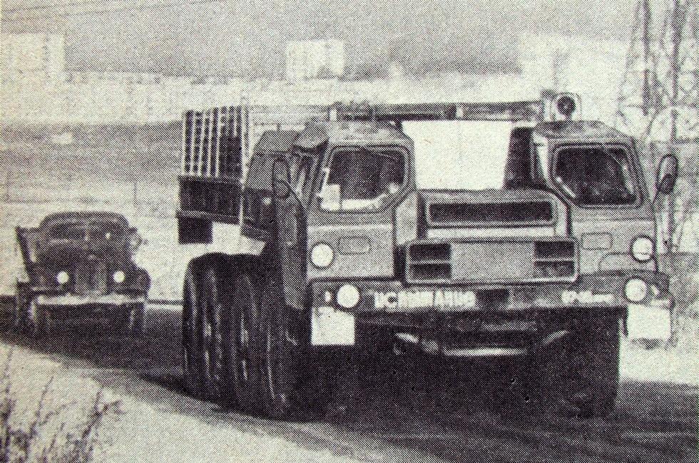 Испытания автомобиля МАЗ-543П с газотурбинным двигателем (из архива Л. Шугурова)