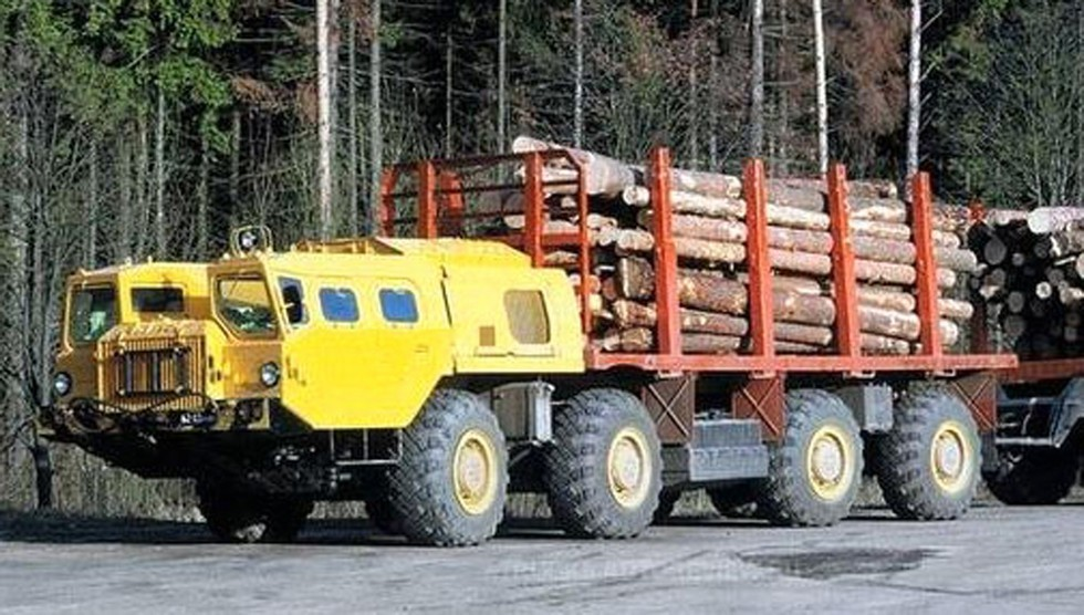Автомобиль-сортиментовоз МАЗ-73136 с прицепом для перевозки спиленной древесины