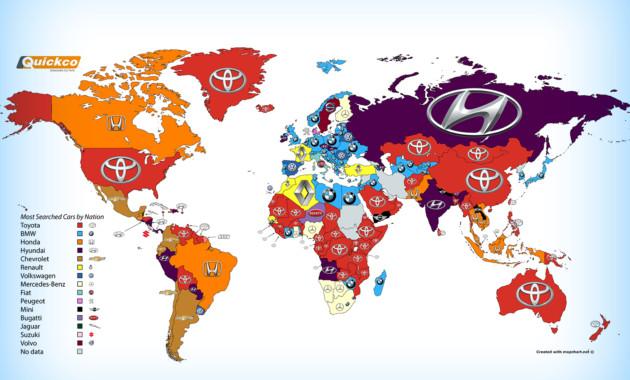 Какие автомобили чаще гуглят в различных государствах?