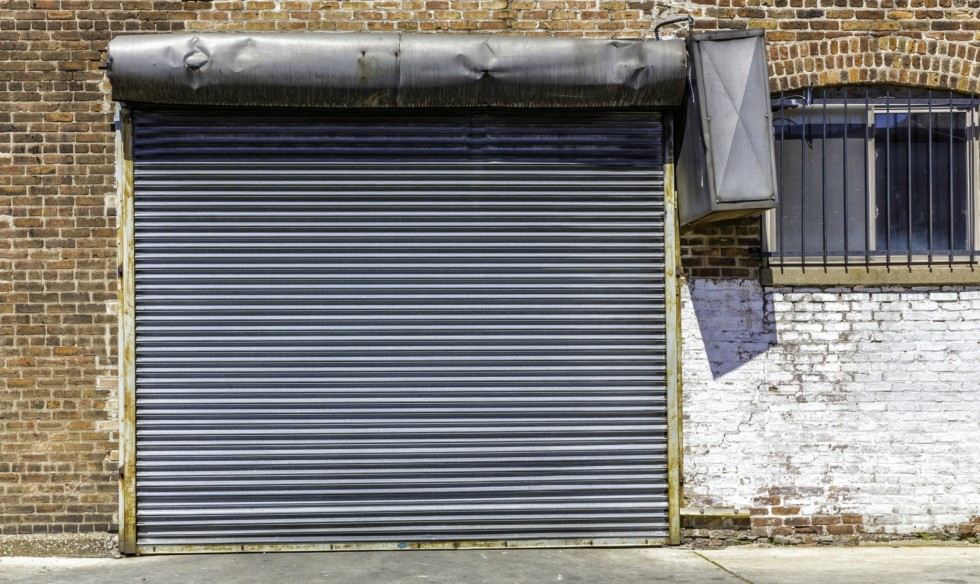 Industrial old garage door