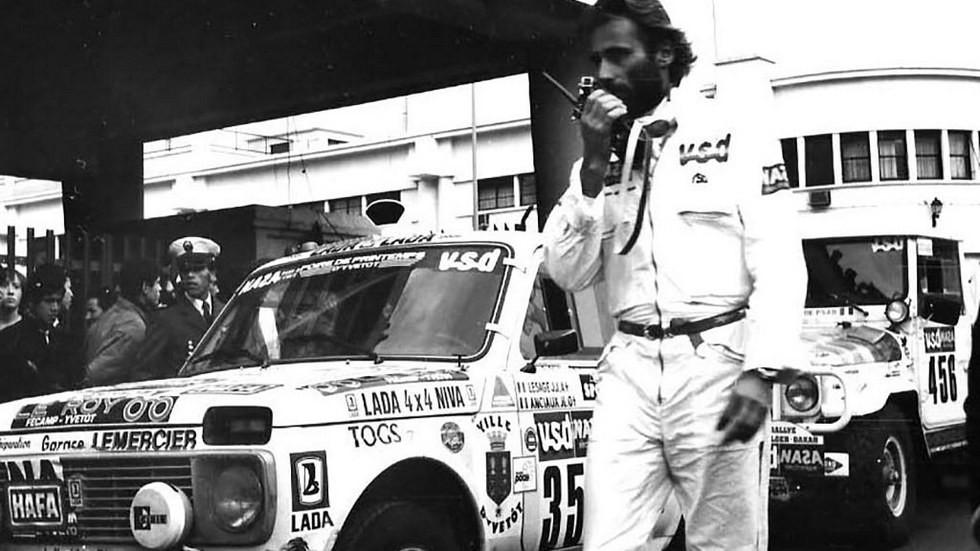 Тьерри Сабин незадолго до гибели на фоне Нивы (1986 год).