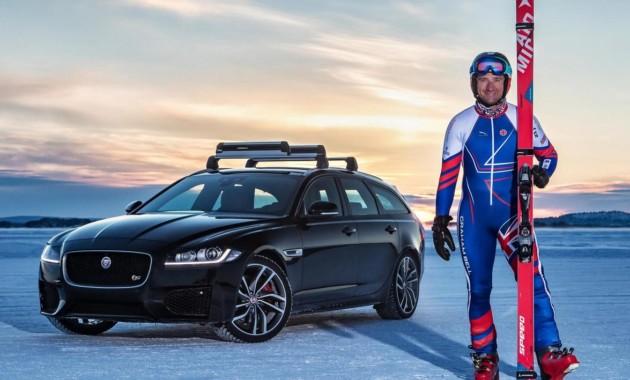 Ягуар XFSportbrake установил рекорд побуксировке лыжника