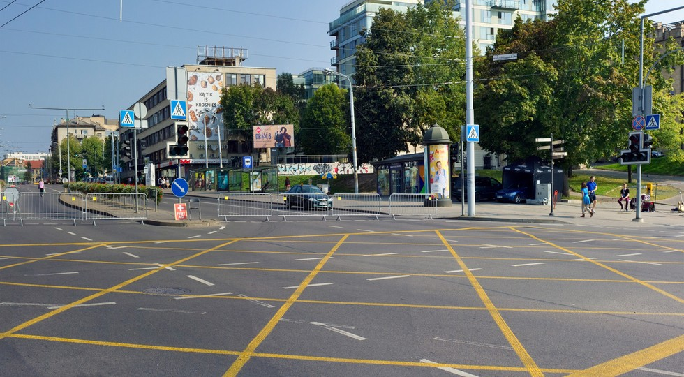 new yellow intersection marking