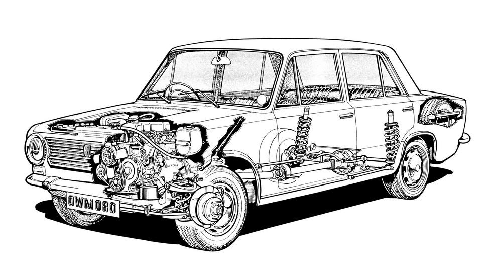 Fiat 124 оснащался дисковыми тормозами на всех колёсах, что хорошо заметно на «рентгеновском» рисунке праворульной модификации для рынка Великобритании