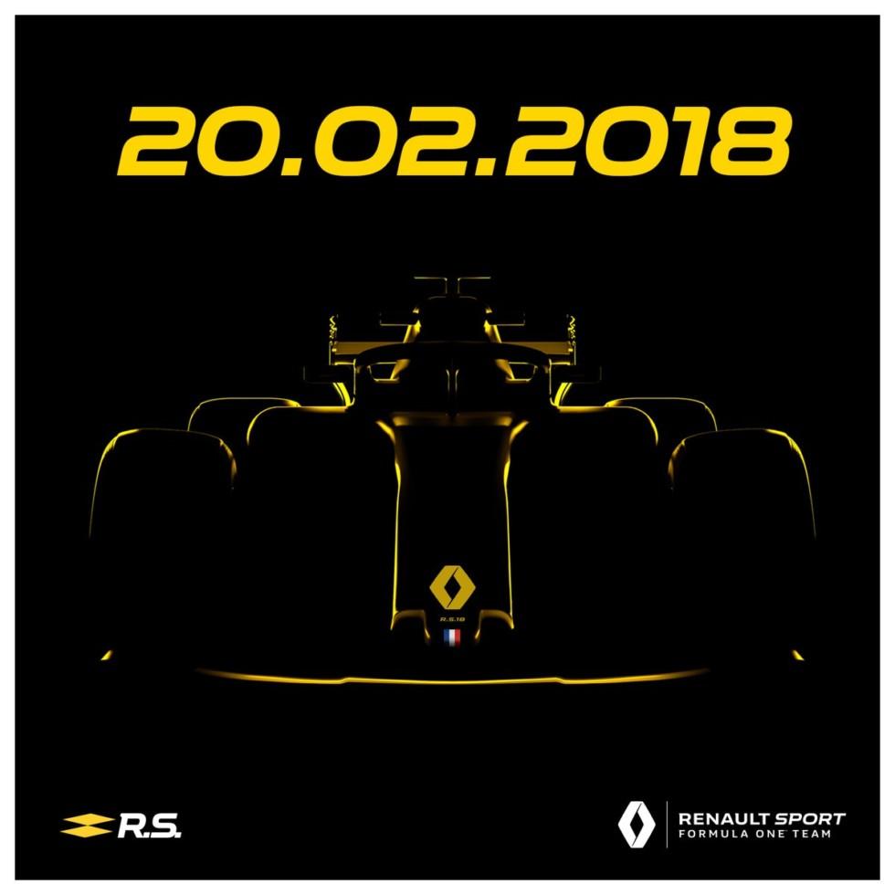 На фото: тизер нового болида Renault RS18
