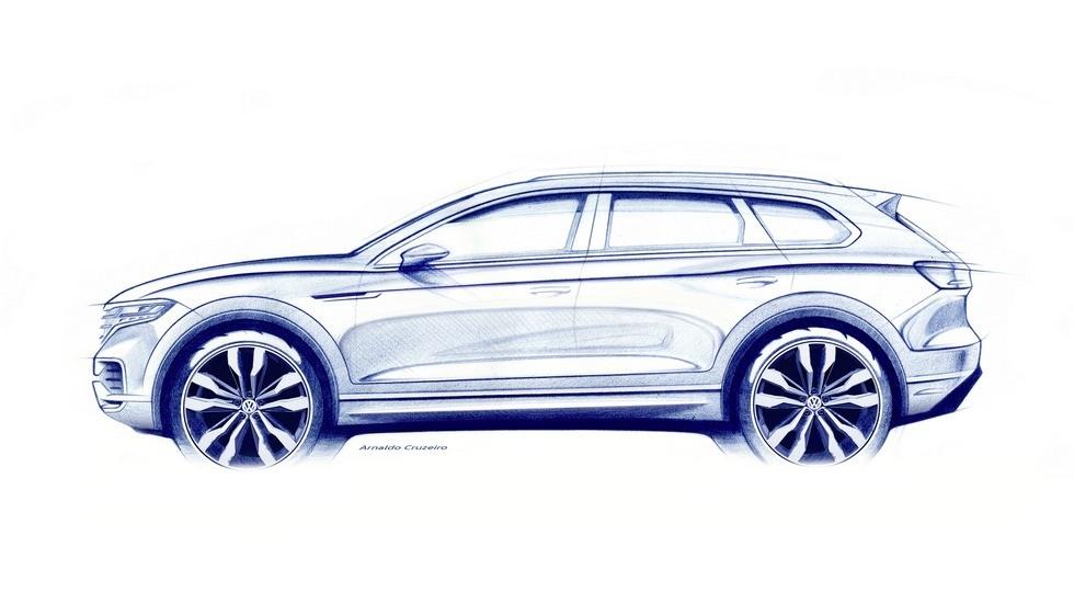Официальное изображение нового Volkswagen Touareg. Кроссовер еще не представлен, он дебютирует в марте 2018 года