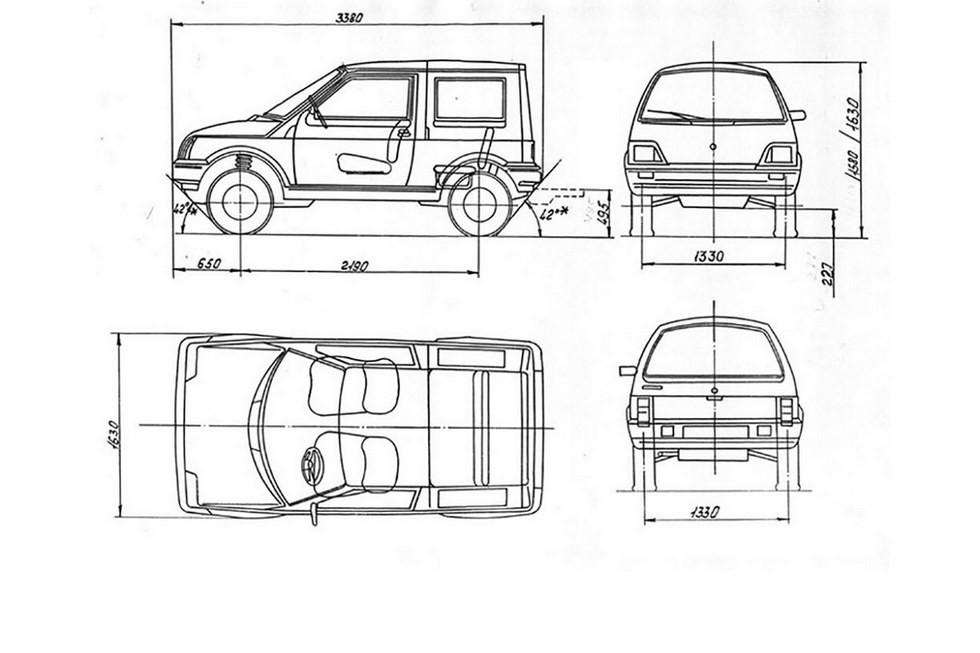 По размерам ЛуАЗ-1301 был сравним с Таврией – конечно, с поправкой на габаритную высоту при клиренсе в 200 мм