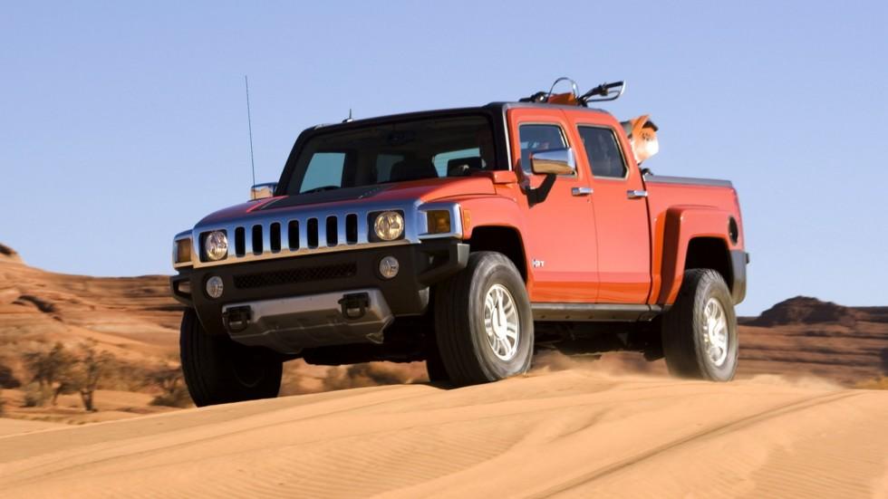 Hummer H3T Alpha оранжевый пикап в движении