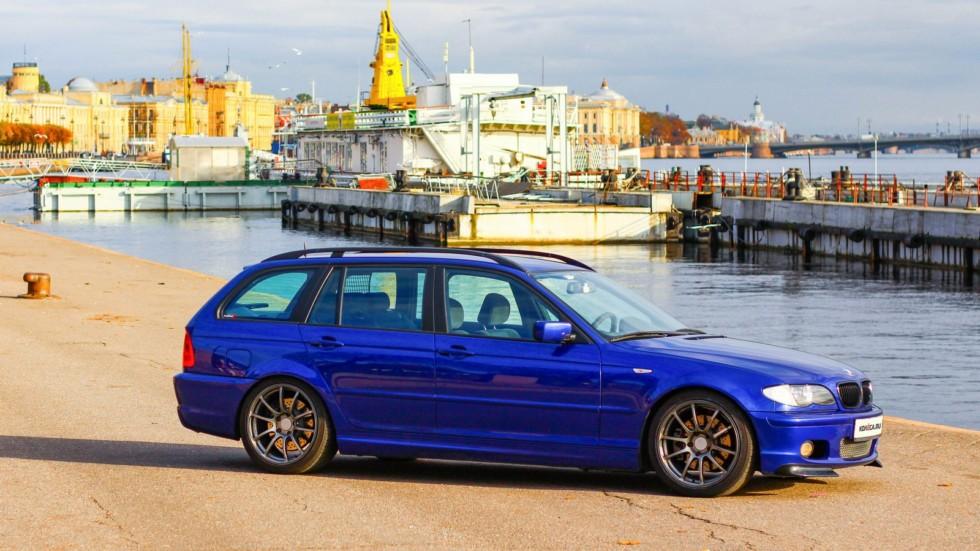 BMW e46 touring синий вид сбоку