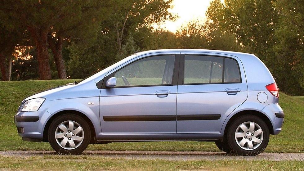 Hyundai Getz голубой вид сбоку
