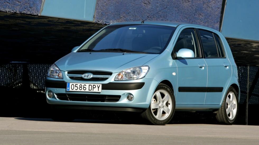 Hyundai Getz голубой вид три четверти