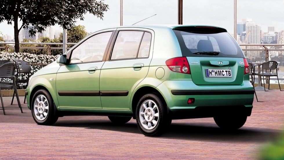 Hyundai Getz зелёный вид сзади