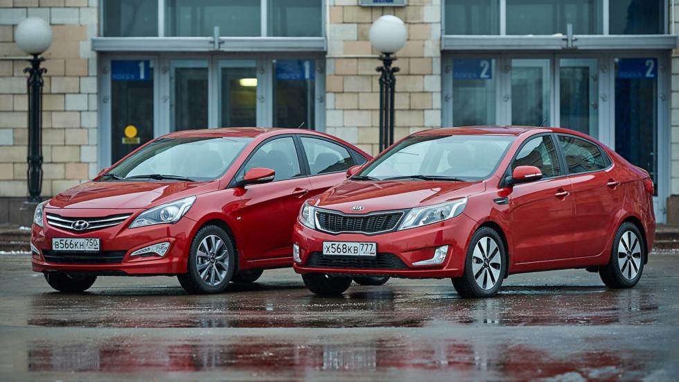 На фото: Hyundai Solaris и Kia Rio