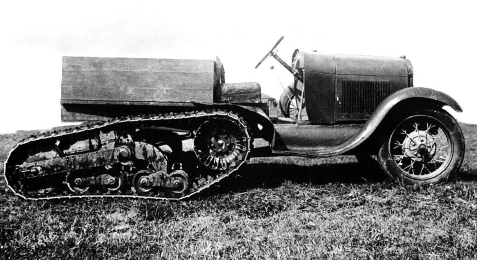 Легкий полугусеничный вездеход НАТИ-5 на базе легковушки Ford-A