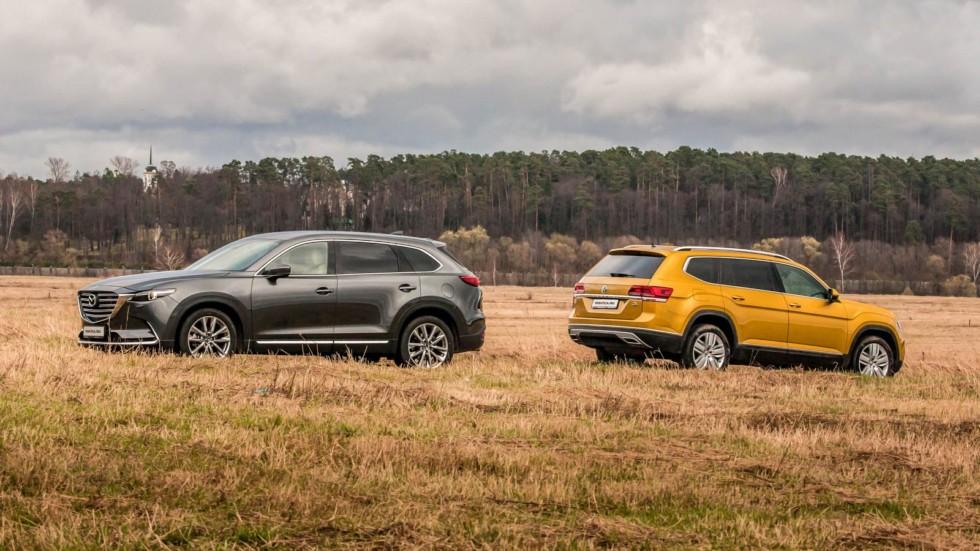 Mazda CX-9 и Volkswagen Teramont вид сбоку