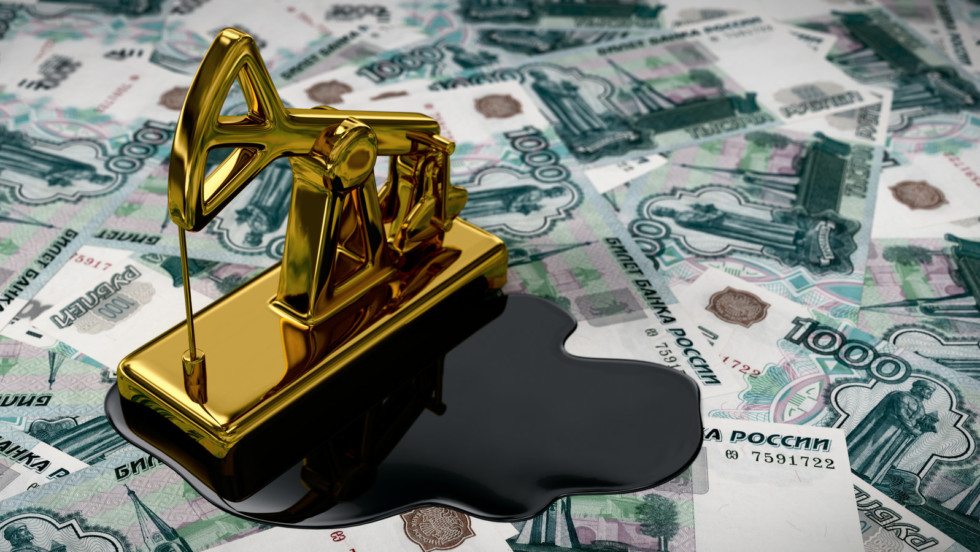 Golden Pumpjack And Spilled Oil Over Russian Rubles