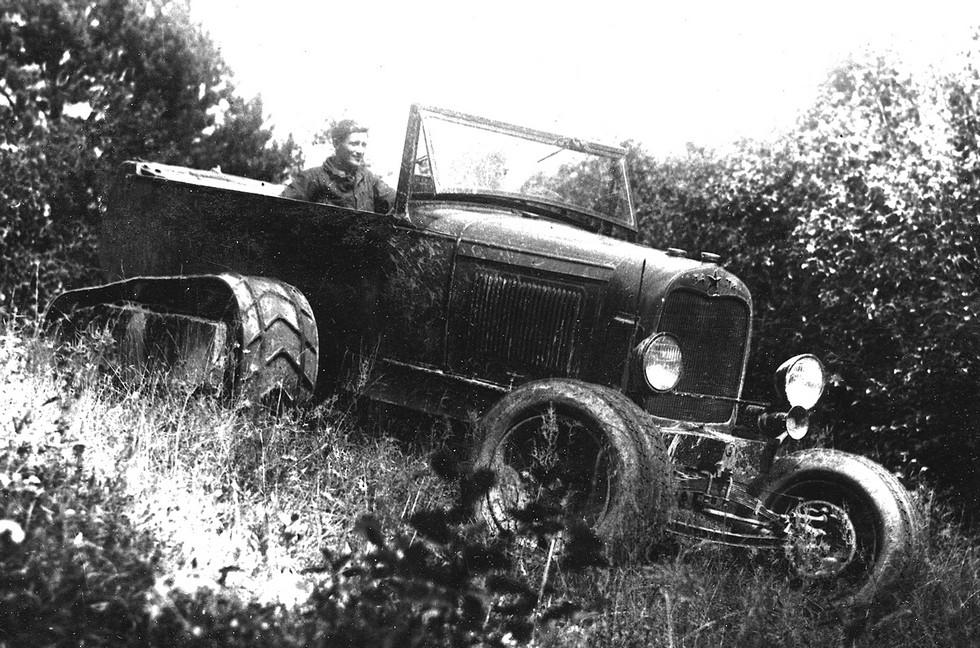 Первый полугусеничный вездеход НАТИ-2 на автомобиле Ford-AA