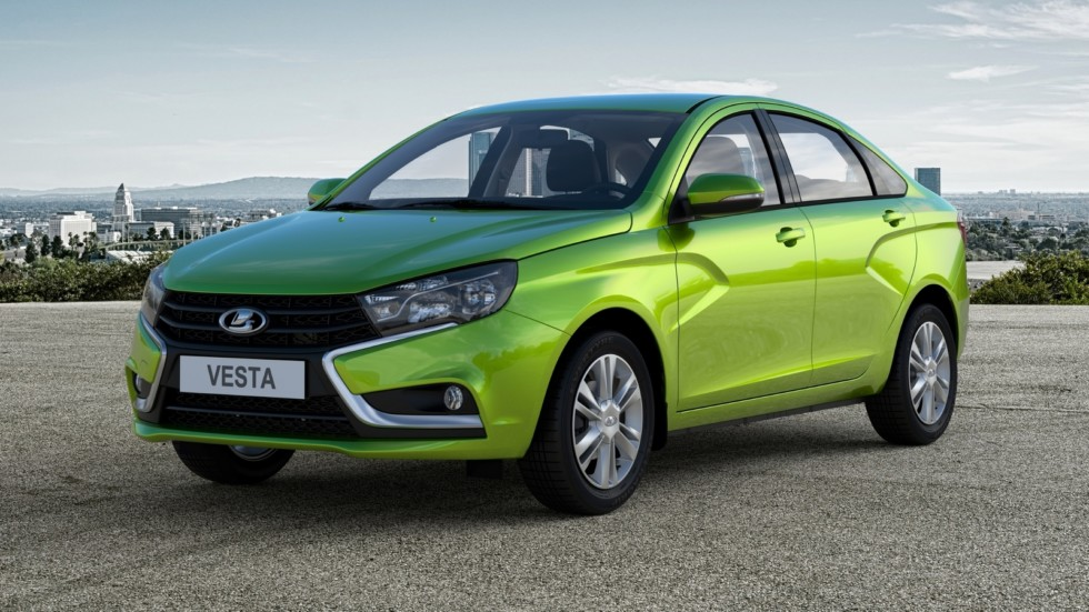 Lada Vesta зелёная три четверти