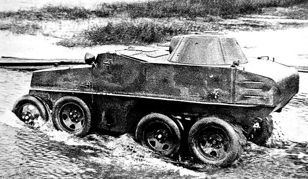 Пулеметная бронированная амфибия ПБ-7 на специальном шасси ГАЗ-30