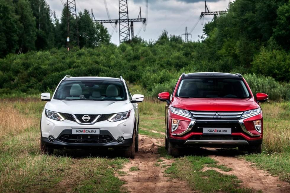 Mitsubishi-Eclipse-Cross-Nissan-Qashqai-спереди