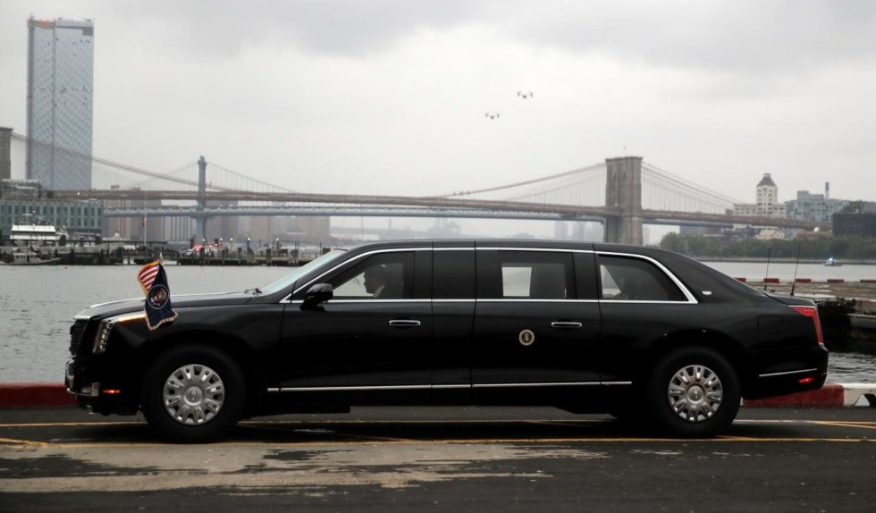"FILE PHOTO: U.S. President Donald Trump's new Cadillac limousine nicknamed ""The Beast"" awaits its debut drive in New York City"