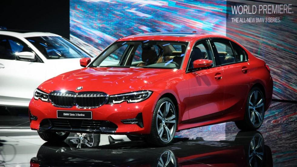 BMW 3 серии красная три четверти