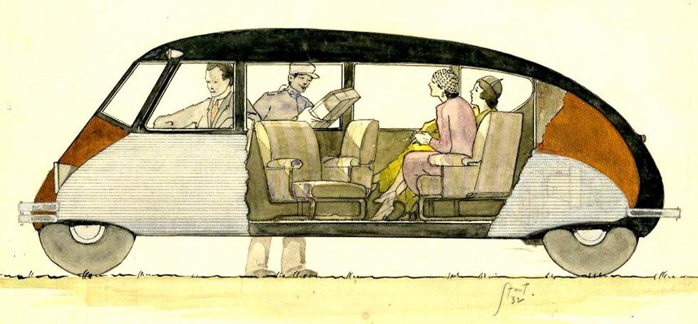 схема легкового автомобиля вагонной компоновки с объемным салоном