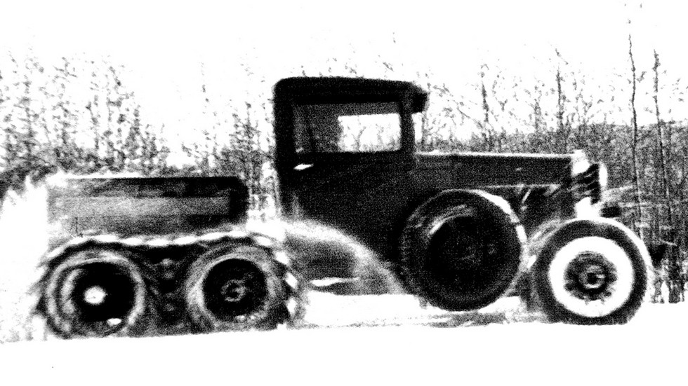 Зимние испытания тягача ГАЗ-АААА с нагрузочным балластом