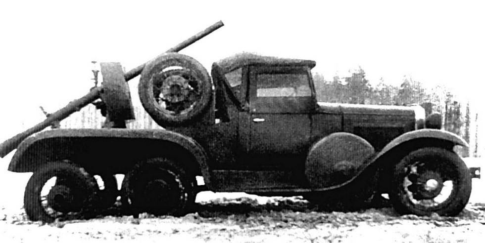 Трехосное спецшасси ГАЗ-ТК с безоткатной пушкой Леонида Курчевского