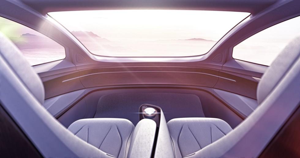 Интерьер автомобиля будущего глазами дизайнеров VW: руля нет, педалей нет, дороги за окном тоже нет… Летим?