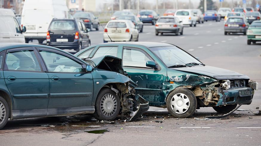 car crash collision in urban street
