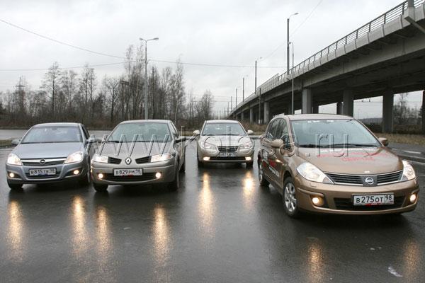 Opel Astra Sedan(в России с декабря 2007), Renault Megane(в России с апреля 2006), Hyundai Elantra(в России с октября 2006), Nissan Tiida(в России с октября 2007)