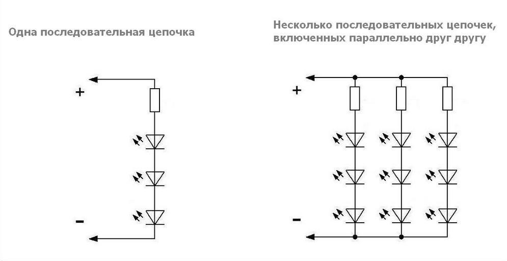 Размер лампы на схеме